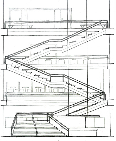 Analyze Stair Placement And Configurations  Draw Detailed Orthographics   Diagram: Form Space And Composition, Material And Assembly, Use And  Operation, ...